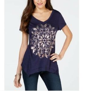 Style & Co Size Small Hidden Gem Graphic Top  4S76